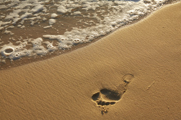 trace of a human foot on a sandy beach
