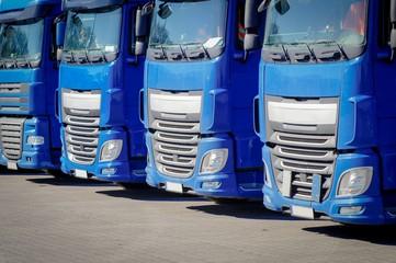LKW-Spedition, abgestellte, blaue Laster - Frontansicht