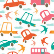 Colorful seamless pattern with cars and swallows
