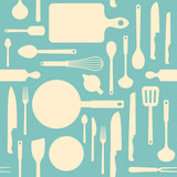 Vintage kitchen tools seamless pattern