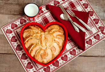 breakfast apple pie with milk mug over heart decorated country p