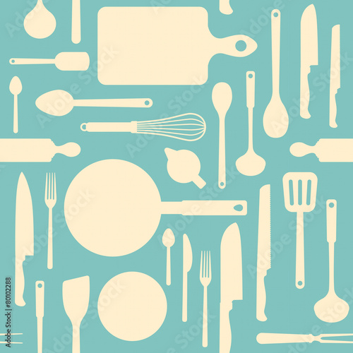 Vintage kitchen tools seamless pattern - 80102288