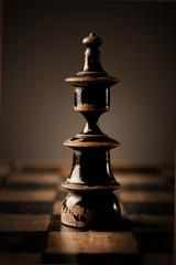 Chess. Black king on chessboard.