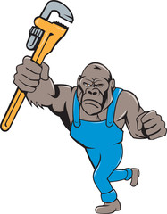 Angry Gorilla Plumber Monkey Wrench Isolated