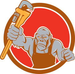 Angry Gorilla Plumber Monkey Wrench Circle Cartoon