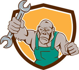 Angry Gorilla Mechanic Spanner Shield Cartoon