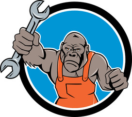 Angry Gorilla Mechanic Spanner Circle Cartoon