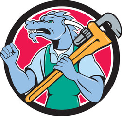 Dragon Plumber Monkey Wrench Fist Pump Cartoon