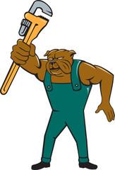 Bulldog Plumber Monkey Wrench Isolated Cartoon