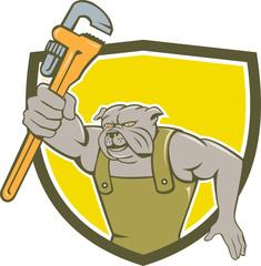 Bulldog Plumber Monkey Wrench Shield Cartoon