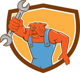 Bulldog Mechanic Holding Spanner Shield Cartoon