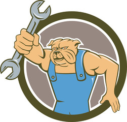 Bulldog Mechanic Holding Spanner Circle Cartoon