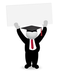 successful graduate holding blank sign