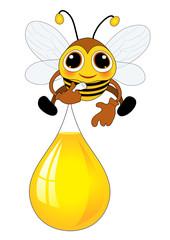 Biene transportiert den Honig im Luftballon