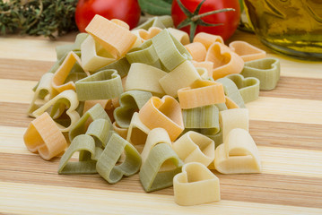 Raw heart-shaped pasta