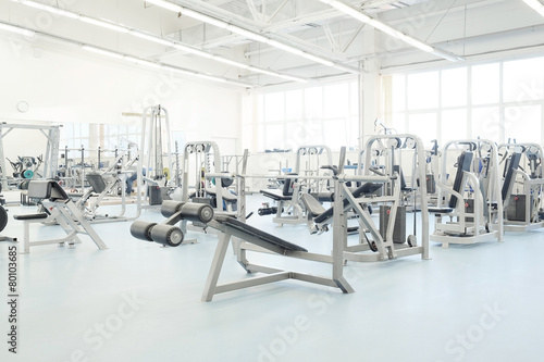 Interior of a fitness hall with fitness equipment - 80103685