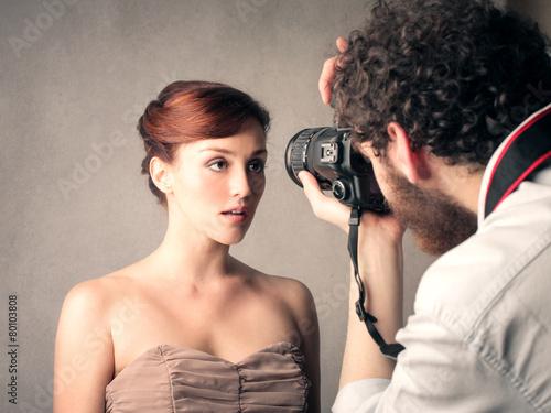 Leinwanddruck Bild Model posing for a picture