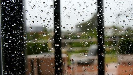 Drops of rain on window glass. 4K
