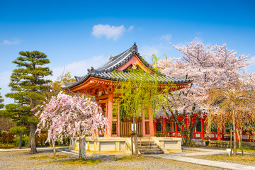 Buddhist Temple Bellhouse in Spring