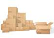 Cardboard boxes, open box