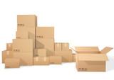 Cardboard boxes, open box