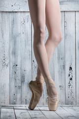Young legs graceful ballerina