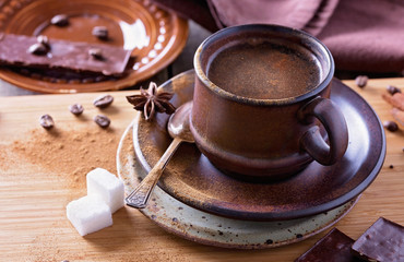 Spiced coffee in ceramic cup