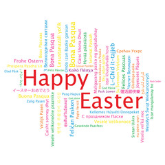 Happy Easter tag cloud in many languages, vector