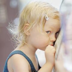 Shy little girl portrait