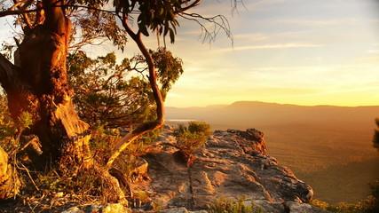 Stunning scenic landscape footage of Australian sunset light