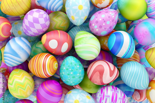 Pile of colorful Easter eggs - 80107082