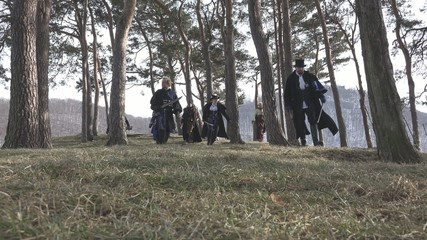 Fantasy Group searching a small forest