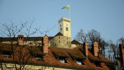 Ljubljana castle clock tower sLOVEnia