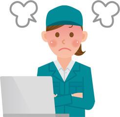 作業員 パソコン 怒る