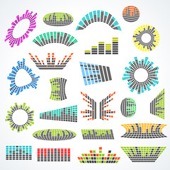 Set of cororful music equalizer vector design elements