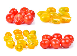 red and yellow cherry tomatoes isolated on white background.