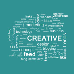 Word cloud. Creativity concept