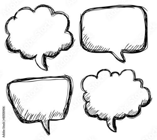 hand drawn bubble speech - 80108406