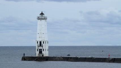 Lighthouse at Rockfort, Michigan, USA, on Lake Michigan.