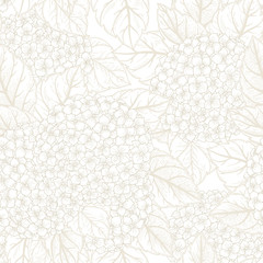 Seamless floral pattern with  hydrangeas