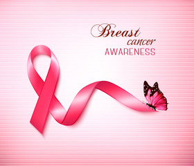 Background with Pink Breast Cancer Ribbon and butterfly. Vector