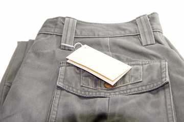 Trousers with label