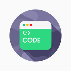 Coding flat icon with long shadow on color background , vector i