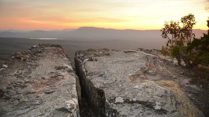 Sunset view from the rocky cliff top Balconies lookout
