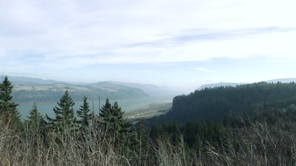 View of the Columbia River which runs between the states of Washington and Oregon in the USA.  Locked off shot.