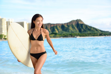 Happy bikini woman surfing on Waikiki Beach Hawaii