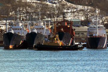 Patrol vessels at the pier in the city of Vladivostok
