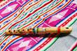 Leinwanddruck Bild - wooden peruvian flute