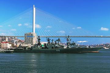 warship in the port of Vladivostok