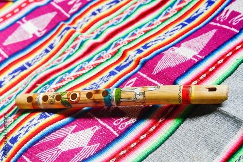 Leinwanddruck Bild wooden peruvian flute
